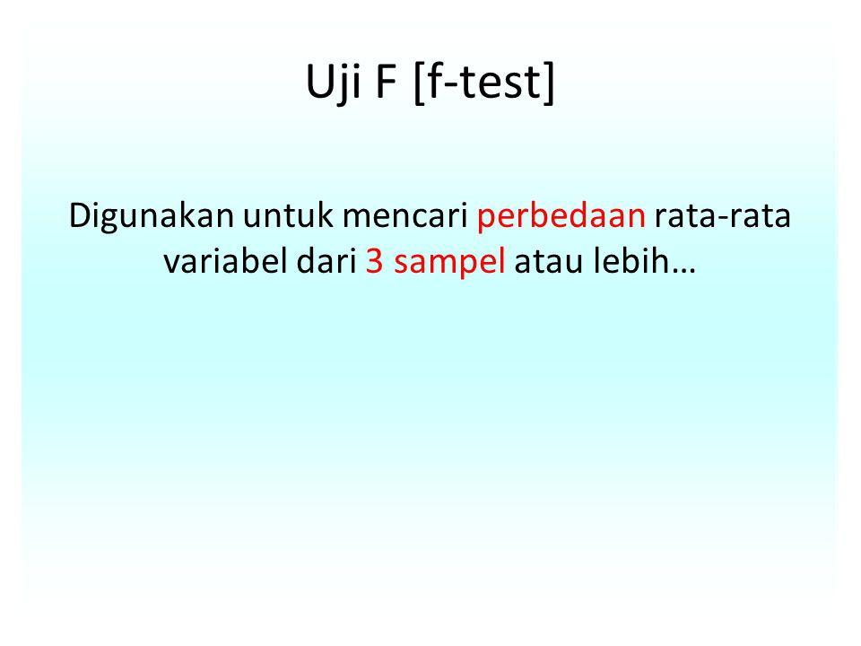 Uji F [f-test] Digunakan untuk mencari perbedaan rata-rata variabel dari 3 sampel atau lebih…